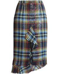 Marco De Vincenzo - Ruffle-trimmed Checked Cotton-tweed Skirt - Lyst