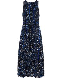 Proenza Schouler - Pleated Printed Silk Crepe De Chine Midi Dress - Lyst