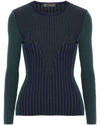 Versace - Ribbed Wool-blend Jumper Dark Green - Lyst