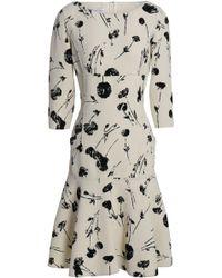 Oscar de la Renta - Fluted Printed Wool-blend Crepe Dress - Lyst