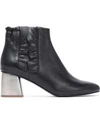 Jil Sander Navy - Ruffle-trimmed Leather Ankle Boots - Lyst