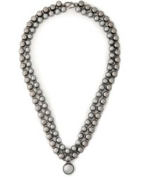 Valentino - Gunmetal-tone And Bead Necklace - Lyst