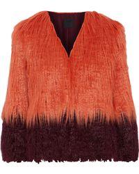 Anna Sui - Woman Two-tone Faux Fur Jacket Papaya - Lyst