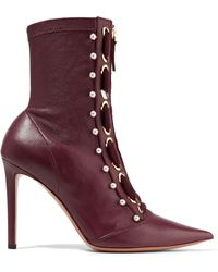 ce846e2246d Altuzarra - Woman Elliot Embellished Leather Ankle Boots Merlot - Lyst