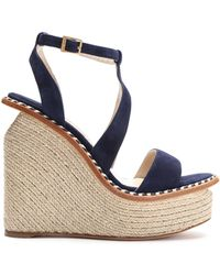 Paloma Barceló - Braided Leather-trimmed Suede Platform Wedge Sandals - Lyst