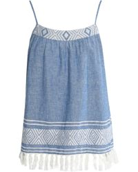 Soft Joie - Embroidered Cotton And Linen-blend Chambray Top - Lyst
