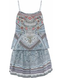 Camilla - Embellished Gathered Printed Silk Crepe De Chine Playsuit - Lyst