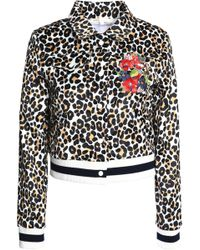 Maje - Floral-embroidered Leopard-print Satin Jacket Animal Print - Lyst