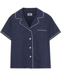ea2b525c43bb2 Sleepy Jones - Woman Corita Polka Dot Cotton Pajama Top Navy - Lyst