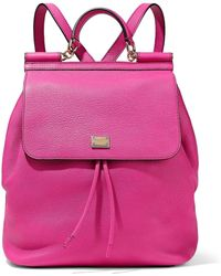 Dolce & Gabbana - Textured-leather Backpack Bright Pink - Lyst