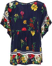 Joie - Woman Ayako Floral-print Silk Crepe De Chine Top Navy - Lyst