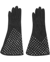 Alaïa - Eyelet-embellished Suede Gloves - Lyst