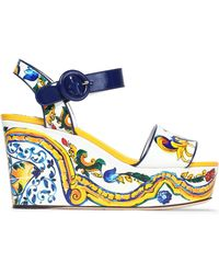 Dolce & Gabbana - Printed Patent-leather Wedge Sandals - Lyst