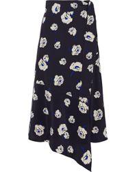 10 Crosby Derek Lam - Asymmetric Floral-print Silk Wrap Skirt - Lyst