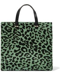 Clare V. - Woman Petit Simple Calf Hair-paneled Leather Shoulder Bag Animal Print - Lyst
