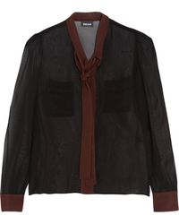 Just Cavalli | Two-tone Pussy-bow Chiffon Blouse | Lyst
