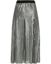 Maje - Pleated Sequined Tulle Midi Skirt - Lyst