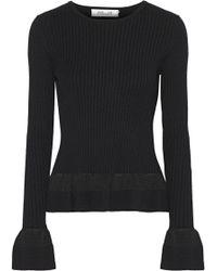 Diane von Furstenberg - Ribbed-knit Peplum Sweater - Lyst