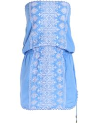 Melissa Odabash - Strapless Embroidered Gauze Coverup Sky Blue - Lyst