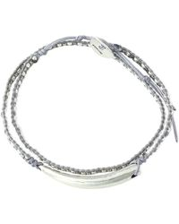Chan Luu - Sterling Silver, Bead And Cord Bracelet Light Gray - Lyst