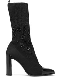 Stuart Weitzman - Embellished Patent-leather And Knitted Sock Boots - Lyst