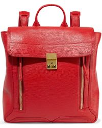 3.1 Phillip Lim - Woman Pashli Textured-leather Backpack Tomato Red - Lyst