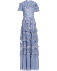 Needle & Thread - Woman Ruffled Tiered Embroidered Tulle Gown Lavender - Lyst