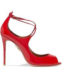 Aquazzura - Zani Cutout Patent-leather Court Shoes - Lyst