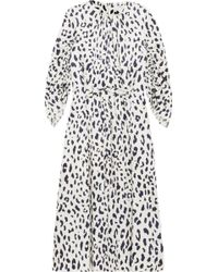 Tibi - Woman Gathered Leopard-print Silk-satin Midi Dress Ivory - Lyst