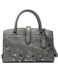 COACH - Studded Metallic Textured Leather Tote - Lyst