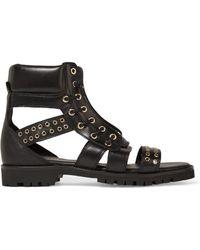 Balmain - Embellished Leather Sandals - Lyst