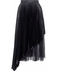 Christopher Kane - Layered Tulle And Pleated Lamé Silk-blend Midi Skirt Black - Lyst