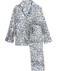 Olivia Von Halle - Woman Floral-print Silk-satin Pyjama Set Sky Blue - 0aa666e08