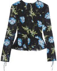 Topshop Unique - Evelyn Open-back Embellished Floral-print Silk-georgette Blouse - Lyst