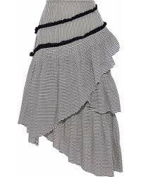 Love Sam - Woman Haley Layered Striped Cotton-blend Gauze Midi Skirt Black - Lyst