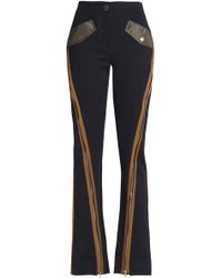 Peter Pilotto - Zip-detailed Cotton-blend Twill Bootcut Trousers - Lyst