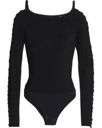 Elie Tahari - Woman Lace-up Ribbed-knit Bodysuit Black - Lyst