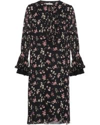 Mikael Aghal - Lace-trimmed Ruffled Floral-print Chiffon Dress - Lyst