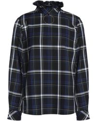 Claudie Pierlot - Ruffle-trimmed Checked Twill Blouse - Lyst