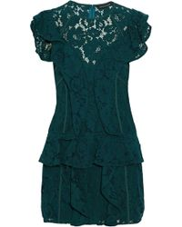 Marissa Webb - Ruffled Corded Lace Mini Dress - Lyst