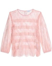 Claudie Pierlot - Embroidered Tulle Top Baby Pink - Lyst