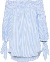 Caroline Constas - Lou Off-the-shoulder Striped Cotton-poplin Top - Lyst