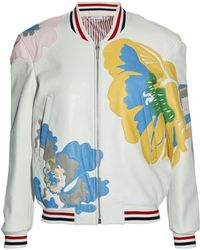 Thom Browne - Appliquéd Textured-leather Bomber Jacket - Lyst