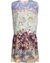Valentino - Gathered Printed Silk-blend Crepe De Chine Mini Dress - Lyst
