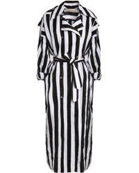 Nina Ricci - Striped Crinkled Taffeta Trench Coat - Lyst