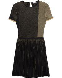 Vionnet - Pleat-paneled Metallic Crochet-knit Top - Lyst
