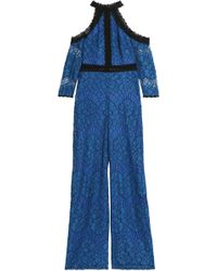 Alexis - Cold-shoulder Corded Lace Jumpsuit Royal Blue - Lyst