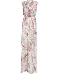 Giambattista Valli - Woman Lace-paneled Floral-print Silk Maxi Dress Ivory - Lyst