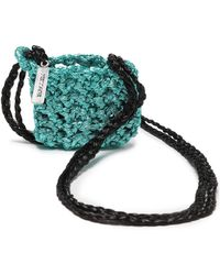 Missoni - Woman Metallic Crocheted Coin Purse Turquoise - Lyst
