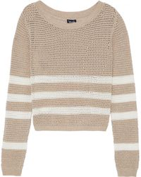 Splendid - Striped Open-knit Cotton-blend Sweater - Lyst